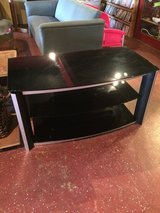 "Black Glass Tv Stand (43"" wide x 23"" deep) in Leesville, Louisiana"