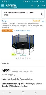15' like new Zupapa trampoline in Dover, Tennessee
