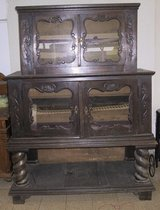Showcase Bufett Fire-Cabinet, 19th century solid oak hand carving, antique shop closing in Wiesbaden, GE
