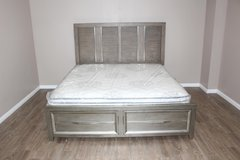 King size textured bed frame with mattress inlcuded in CyFair, Texas