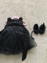Girls black sequin/tulle dress and shoes 6-12 months in Naperville, Illinois