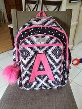 """Justice backpack letter """"A"""" in Plainfield, Illinois"""