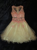 Homecoming Prom Formal Dress, size 1/2, Short White/Pink Sheer Lace in Westmont, Illinois