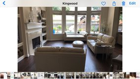 Cream Color Leather Sofa Love Seat & Ottoman in Kingwood, Texas