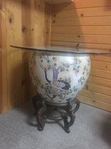 Porcelain Hand Painted Fish Bowl w/glass top in Bolingbrook, Illinois
