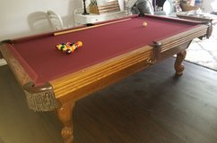 Pre-Owned Olhausen 8ft. excellent condition Pool Table with three-piece Italian slate, leather f... in Fort Leonard Wood, Missouri