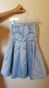 Homecoming Prom Formal Dress, Short, Blue Satin, sz S 3 in Westmont, Illinois