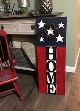 Wood patriotic HOME sign and pip wreath in Morris, Illinois