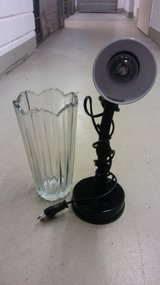 Black Desk Lamp and Glass Flower Vase in Stuttgart, GE