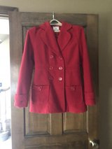 Woman's Red Beltless Cotton/Wool Peacoat in Glendale Heights, Illinois