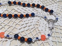 Auto Rosary Astros Faceted Blue Lapis Beads with Czech Glass Orange Spacers Italian Silver Medal... in Kingwood, Texas