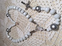 Auto Rosary White and Silver Faceted Czech Beads Wooden Pater Beads Italian Silver Medal and Cru... in Kingwood, Texas