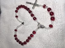 Auto Rosary Red Clear Round Beads Clear Crystal Accents Italian Silver Medal and Crucifix Custom... in Kingwood, Texas