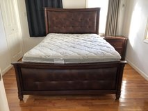 Queen Dark wood/brown leather bedroom set in Okinawa, Japan