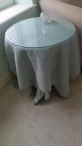 SIDE WOOD TABLE WITH GLASS TOP CAN USE ANY FABRIC TO COVER TABLE in New Lenox, Illinois