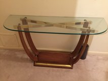 Beautiful glass top table with oak base in CyFair, Texas