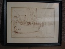 Pen & Ink Picture, Fishing Boat, Northern Light in Naperville, Illinois