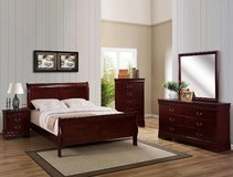 NEW QUEEN BED 1 NIGHT STAND DRESSER AND MIRROR in Riverside, California
