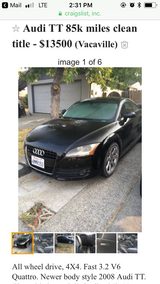 Quattro Audi TT all wheel drive v6 low miles in Fairfield, California
