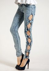 Side Bow Cut-Out Jeans in 29 Palms, California
