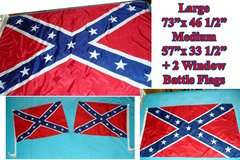 4 BATTLE REBEL FLAGS CIVIL WAR DIXIE LARGE + MEDIUM + 2 TRUCK / CAR WINDOW CONFEDERATE BATTLE FLAGS in Ruidoso, New Mexico