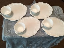 Milk glass sandwich  plate and cup in Alamogordo, New Mexico