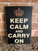 Keep Calm and Carry On (Crown) wooden sign in Westmont, Illinois