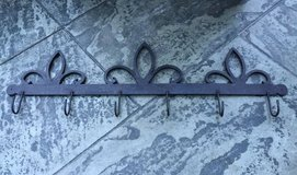 Black Wrought Iron Wall Hung Rack w/Hooks in Bolingbrook, Illinois