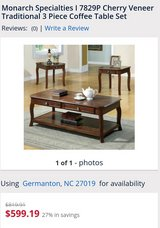 Cherry veneer 3 piece coffee table set in Cherry Point, North Carolina