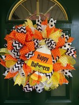 Happy Halloween Mesh Wreath in Naperville, Illinois