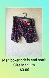 Men's hot stuff  boxer briefs with socks in Barstow, California