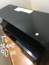 WOOD AND SMOKED GLASS T.V. STAND in Osan AB, South Korea