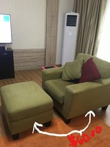 GREEN OVERSTUFFED CHAIR AND OTTOMAN in Osan AB, South Korea