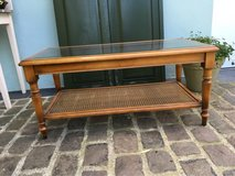 beautiful french vintage coffee table wood&wicker& glass top in Ramstein, Germany