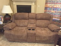 Dual-recliner couch with center console in Las Cruces, New Mexico