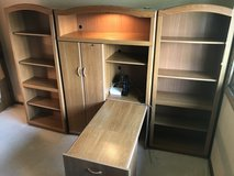 Pre-owned bookshelves with space saver desk and hutch in Orland Park, Illinois
