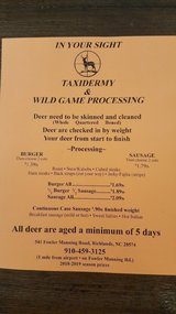 In Your Sight Taxidermy/Wild Game Processing /Deer processing in Camp Lejeune, North Carolina