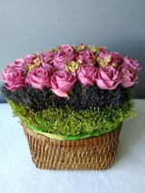 Artificial Floral Arrangment in a Woven Basket in Lockport, Illinois