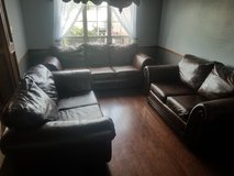 2  Loveseats and Couch Leather and Wood in Lawton, Oklahoma