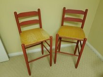 2 RED WOODEN BAR STOOLS in Fort Knox, Kentucky