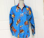 Blue 11/12 Cowboy Rodeo Blue Button Up Pearl Long Sleeve Women's Shirt Blouse in Kingwood, Texas