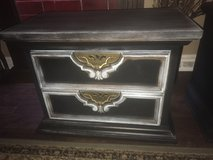 Solid wood, heavy black and patina side table, made in the USA! in New Lenox, Illinois