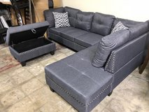 BRAND NEW! CONTEMPORARY GREY SOFA CHAISE SECTIONAL WITH XL OTTOMAN in Vista, California