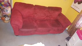150.   NO PETS, NO SMOKING, NO BUGS!!   Red Microfiber Broyhill Sofa & idk what brand red matchi... in Camp Lejeune, North Carolina