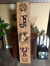 Christmas wooden Joy sign and pip wreath in Morris, Illinois