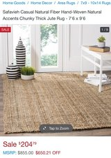 Natural fiber Jute rug - Brand new!!! in Fort Belvoir, Virginia