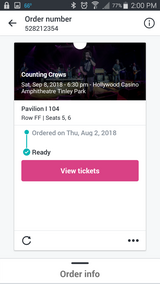 Counting Crows Tonight -we can no longer go ! Main Floor !! in Sugar Grove, Illinois