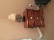 Oak end table with lamp in Liberty, Texas