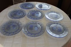 Set of 8 Fostoria Avon American Classic Cobalt Starburst Blue Glass Plates in Tacoma, Washington