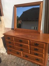 Heavy solid wood dresser with mirror in Baumholder, GE